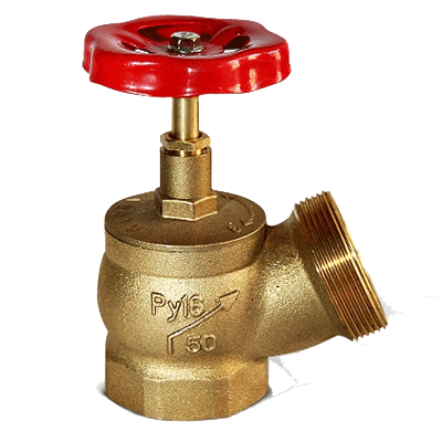 Клапан 51 мм, латунь (угловой, 125 градусов)КПЛ 50-1 (муфта-цапка)
