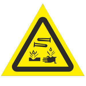 Знак - Опасно! Едкие и коррозионные вещества W04